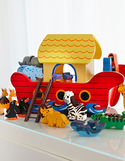 Large Noahs Ark Boat Including 20 Animals Wood Like To Playwood